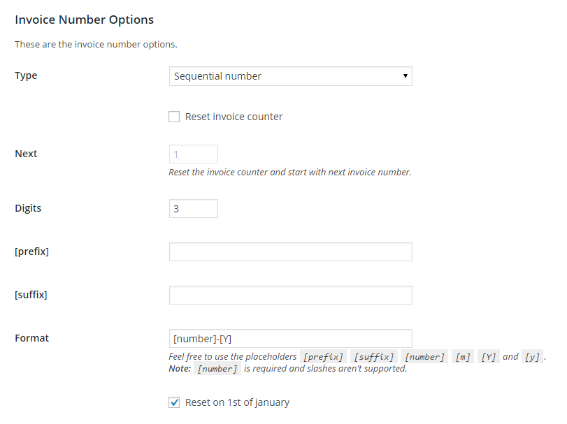 Sequential invoice numbering
